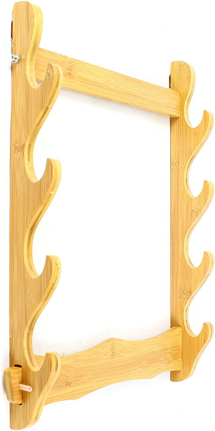 4-Layer Bamboo Wall Mount Display Rack Stand San Diego Mall Sword Bow Flute Fis Complete Free Shipping