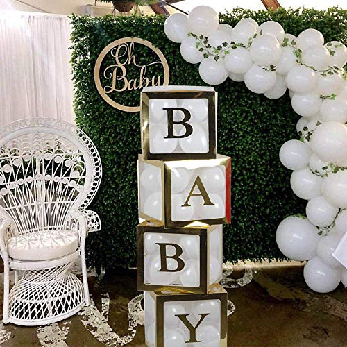 ZOOYOO Baby Shower Clear Boxes 4Pcs Transparent Balloon Box for Baby First Birthday Party Decorations, Boys Girls Birthday Party Decorations(Black Baby Blocks)