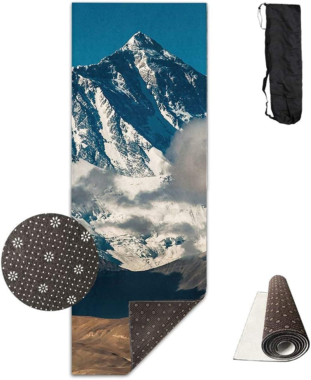 Yoga Mat Non Slip Mountain Peak Printed 24 X 71 Inches Premium for Fitness Exercise Pilates with Carrying Strap