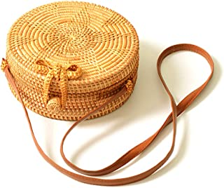 amololo Rattan Bag Flower Woven Round Straw Bag Crossbody Bag with Lining Inside(7.8)