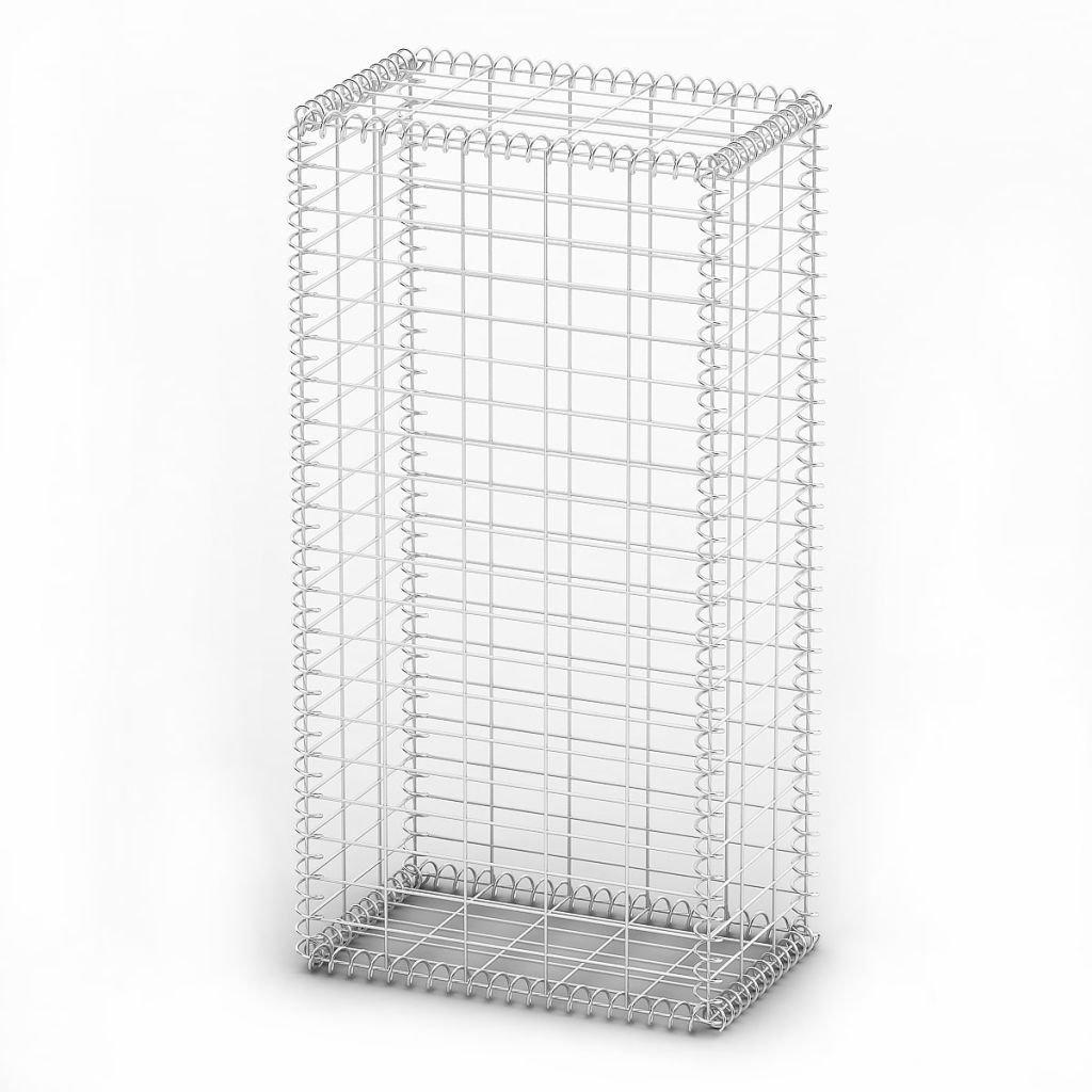 Festnight Gabion Basket Wall with Lids Wire 1 Industry No. Galvanized 39.4