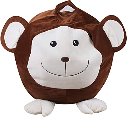 WJX Extra Large Animal Toy Storage Bean Bag Chair Plush Toy Storage Bag for Kids Stuffed Sit Organization and blankets Storage