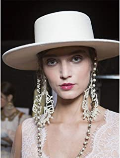 SHENTIANWEI 100% Wool White Women Fedora Hat Top Hat Dance Party Hat Bowler Hat Handmade Hat Size 56-58CM
