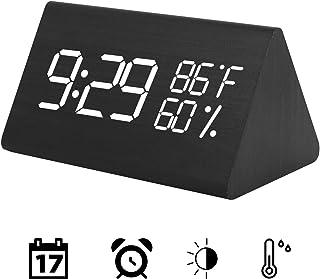 Wooden Digital Alarm Clock, Acoustic Control Digital LED Alarm Clock 3 Levels Adjustable Brightnesswith Time