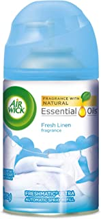 Air Wick Pure Freshmatic Refill Automatic Spray, Fresh Linen, 1ct, New Look, Same familiar smell of Fresh Laundry, Essential Oil, Odor Neutralization, Packaging May Vary