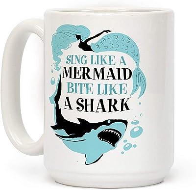 Shimaier Sing Like a Mermaid, Bite Like A Shark ホワイト 350ML セラミックコーヒーマグ