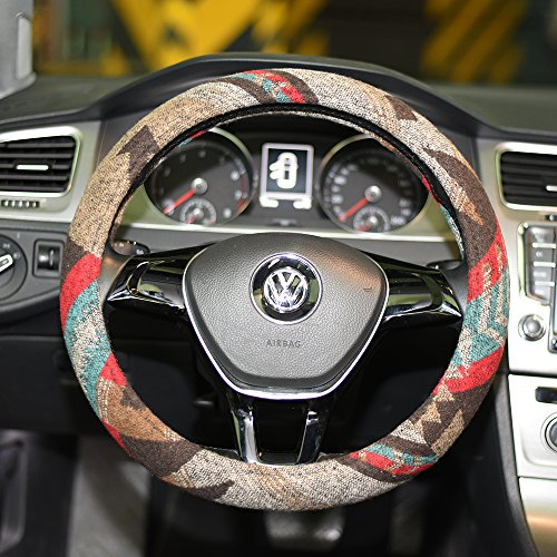 LSAUTO Universal 15inch Ethnic Style Baja Blanket Steering Wheel Cover with Coarse Flax Cloth and Sweat Absorption Anti Slip Car Wrap¡­SWC08