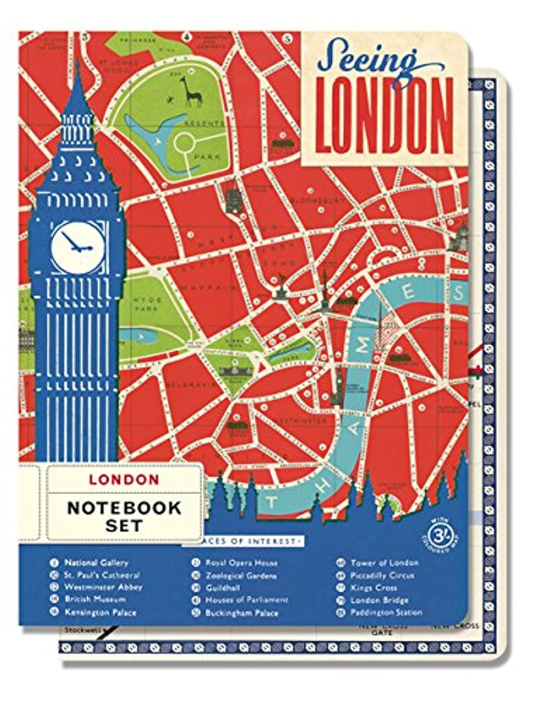 Cavallini Papers & Co. Notebook Set Vintage London, 4-Inch by 5.5-Inch, 2 Notebooks 96 Pages