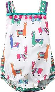 Carolilly Strampler für Babys, Mädchen, Sommer, Kleidung für Babys, Mädchen, mit Alpaka-Motiv, bunt bedruckt