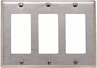 Leviton 84411-40 3-Gang Decora/GFCI Device Decora Wallplate, Device Mount, Stainless Steel