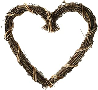 Zhiheng 2 Pack Christmas Rustic Grapevine Wreath 12 inch Rattan Vine Garland for Home Wedding Party Vintage Decoration (Heart)