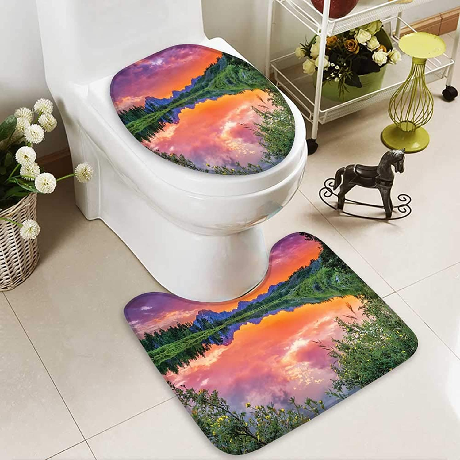 Muyindo Cushion Non-Slip Toilet Mat SunReflecti River Nature Photography droom Living Kids Gir Soft Non-Slip Water