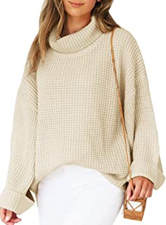 Yacooh Womens Turtleneck Oversized Pullover Sweater Bell Sleeve Cable Chunky Batwing Knit Kimono Tops Blouse