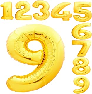 40 Inch number Balloons Gold Foil Huge Size Helium Mylar numbers balloon for Birthday Party & Graduation ceremonies with ...