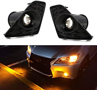 iJDMTOY F-Sport 15W High Power Projector LED Fog Light Kit w/Bezel Covers For 2013-2015 Lexus GS350 GS460 GS450h, 2500K Gold Selective Yellow