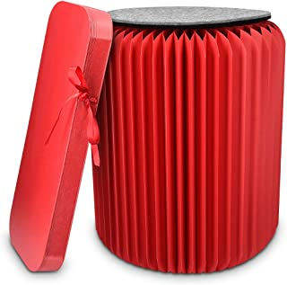 Navaris Folding Kraft Paper Stool - Foldable Chair Ottoman with Bearing Capacity 300kg Hexagonal Honeycomb Structure - for Home, School, Dorm - Red