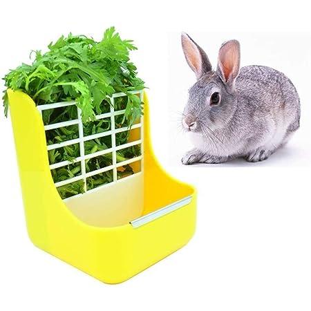 Rabbit Feeder Bunny Guinea Pig Hay Feeder, Hay Guinea Pig Hay Feeder, Chinchilla Plastic Food Bow (Yellow)