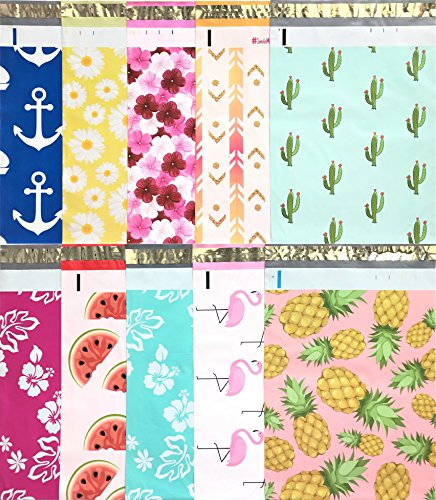 Designer Poly Mailers 10x13: Sample Variety Pack ~ Anchor, Daisy, Hibiscus, Arrow, Cactus, Pink & Mint Aloha, Watermelon, Flamingo, Pineapple Printed Self Sealing Shipping Poly Envelopes Bag (30 Pcs)