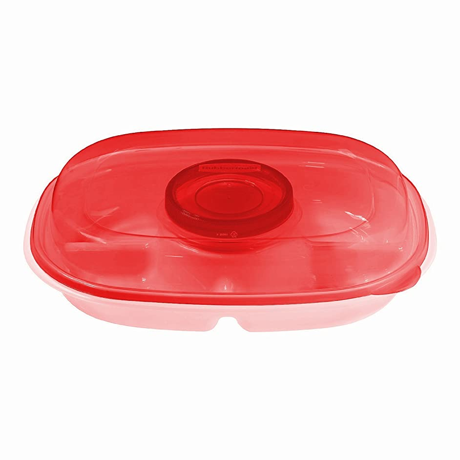 Rubbermaid Party Platter, 4-Piece Value Pack, Clear/Red