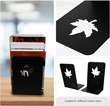 Toyvian 2pcs Bookend Supports Metal Book Stopper Maple Leaf Bookshelf Decor Desktop Organizer for Books Movies Video Games