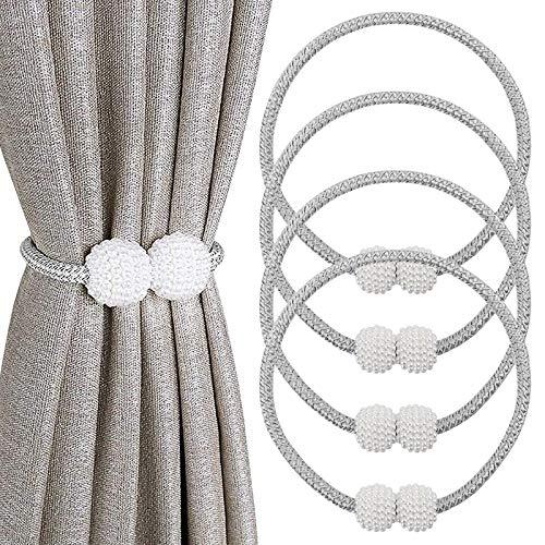 SNUNGPHIR Magnetische Raffhalter für Gardinen 4 Stück Perle Kugel Vorhang Clips Seil, Vorhang Halter Schnallen Vorhang Binder zur Dekoration von Wohnzimmer, Büro und Schlafzimmer