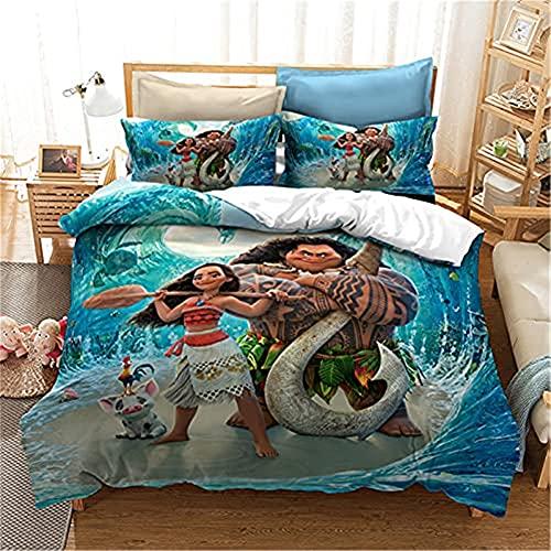 Set copripiumino singolo per letto singolo con tre pezzi, 3D Moana vaiana, morbido e confortevole, copripiumino singolo 135 x 200 cm, 2 federe 50 x 75 cm.