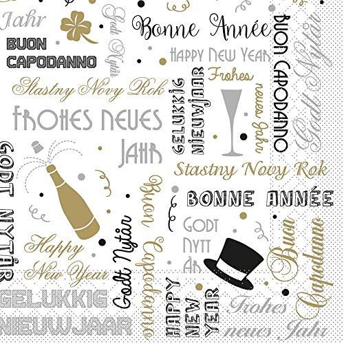 Sovie HORECA Serviette Bonne Année | aus Tissue | Silvester-Party Happy New Year Tischdekoration |33 x 33 cm,100 Stück