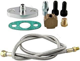 Steel Braided Turbo Oil Feed Line 48 Length 4AN 90 Degree Straight Hose End Pressure Stainless Remote Turbocharger Sensor Teflon 4AN 551867