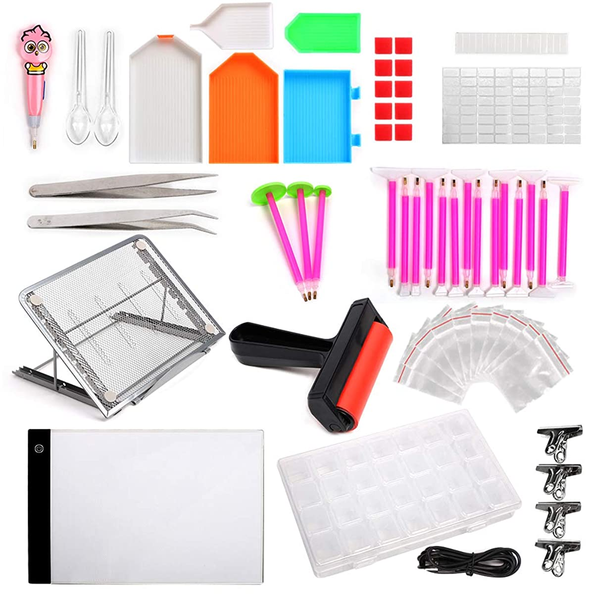 LAMPTOP 58-Pack 5D Diamond Painting Tools and Accessories Kits with Dimmable A4 LED Light Pad Board Adjustable Tablet Stand Roller Pens Cross Stitch and Embroidery Box for DIY Art Craft