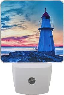 ALAZA 2 Pack Sunset Lighthouse Ocean Sea LED Night Light Dusk to Dawn Sensor Plug in Night Home Decor Desk Lamp for Adult
