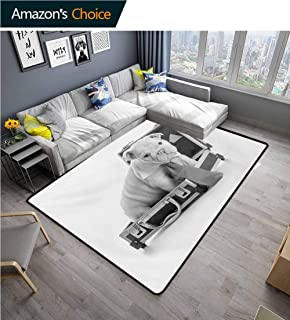 TableCoversHome English Bulldog Geometric Door Mats Area Rug, Tie Wearing Puppy Sitting Inside a Briefcase Greyscale Illustration Fashionable High Class Living Bedroom Rugs, (6'x 9') Grey Pale Grey