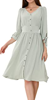 AUTOMET Women Casual Tie Sleeve Pleated Elastic Waist Button Down Swing Dress with Pockets