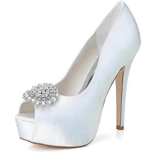 Elegant high chaussures chaussures chaussures Femmes Chaussures De Mariage PL-3128-20 Peeking Toe Pompes Satin Bow Platform Talons Hauts Strass Chaussures De Mariage 06f