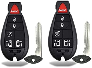 2 New Keyless Entry 6 Buttons Remote Start Car Key Fob M3N5WY783X, IYZ-C01C For Town Country Dodge Grand Caravan Volkswage...