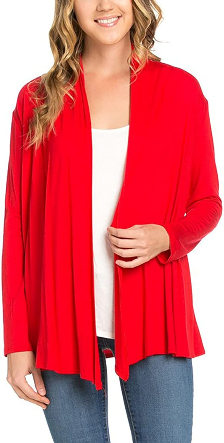 12 Ami Basic Long Sleeve Open Front Cardigan (SXXXL)  Made in USA