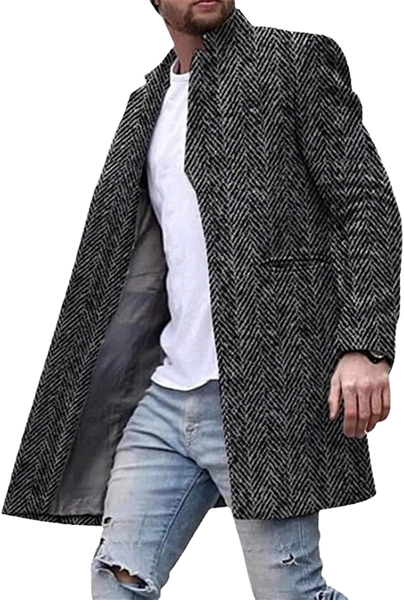 Winter Woolen Coat Men's Single Buckle Fashion Solid Color Business Casual Long Trench Coat