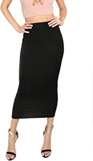 MakeMeChic Women's Solid Basic Below Knee Stretchy Pencil Skirt
