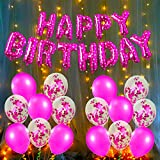 This exclusive birthday decoration Package include: 1Pc Pink Letters/ Alphabet Happy birthday foil balloons, 6Pcs metallic pink and 6pcs pink confetti, and 1pc 9mtr fairy lights .These metallic and foil latex ballons is perfect for girls any age birt...