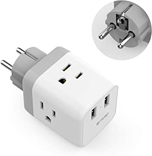 France Germany Power Adapter, TROND 5-in-1 Schuko European Travel Plug Adapter with 2 USB Ports, 3 American Outlets, for US to EU Paris Spain Portugal Austria Hungary Russia, Type E/F