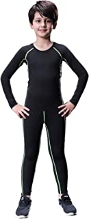 Boy's Thermal Underwear Set Long John Skin Base Layer Tops and Bottom with Fleece Lined