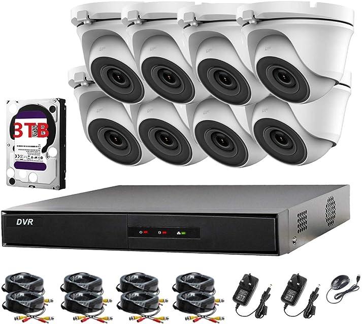 Hikvision HiLook - Juego de 8 cámaras CCTV y 8 cámaras de 2 MP Full HD 1080P para cámaras CCTV Infrarrojos 20 m visión remota Sistema de cámara de Seguridad