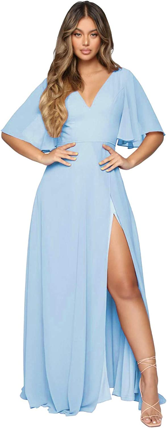 Ro Monica Women's Miami Mall Recommended V Neck Long with Bridesmaid Short Slit Dresses