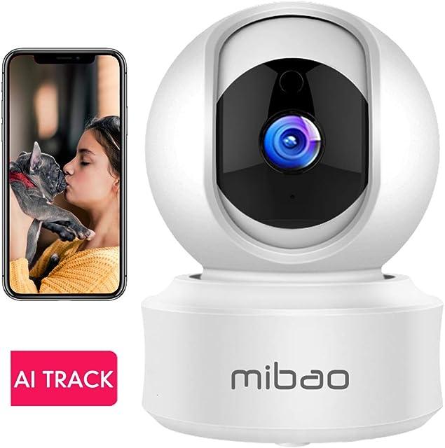 1080P Cámara De Vigilancia WiFi Interior, Mibao Cámara Vigilancia HD Visión Nocturna Detección de Movimiento Remoto Alarma de Correo Electrónico Audio Bidireccional Monitor para Bebe/Perros