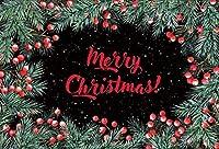 写真の背景のための新しい5x3ftビニールメリークリスマスの背景クリスマスの黒い壁と松の葉コーンホリデーパーティーの装飾テレビ番組大人の子供の肖像画写真スタジオの小道具
