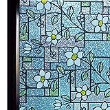 DUOFIRE 窓用フィルム 台風対策 飛散防止 目隠しシート ガラスフィルム 窓めかくしシート 遮熱 断熱シート 紫外線 UVカット ステンドグラス シール 水で貼る 貼り直し可能 おしゃれな花柄 インテリアシール (DP003A, 0.443M X 2M)