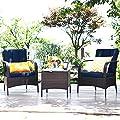 Tangkula 3 PCS Patio Conversation Set, Ourdoor Wicker Furniture Set with Coffee Table & Cushions, Outdoor Conversation Set for Garden Balcony Backyard (Dark Blue)