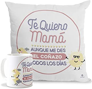Getsingular Pack Taza + Cojín Especial para mamá   Mensaje para el Día de la Madre   Tazas cerámica Cojín 40x40 cm Relleno Incluido Cualquier Fecha Especial  Frase Te Quiero mamá,Aunque.