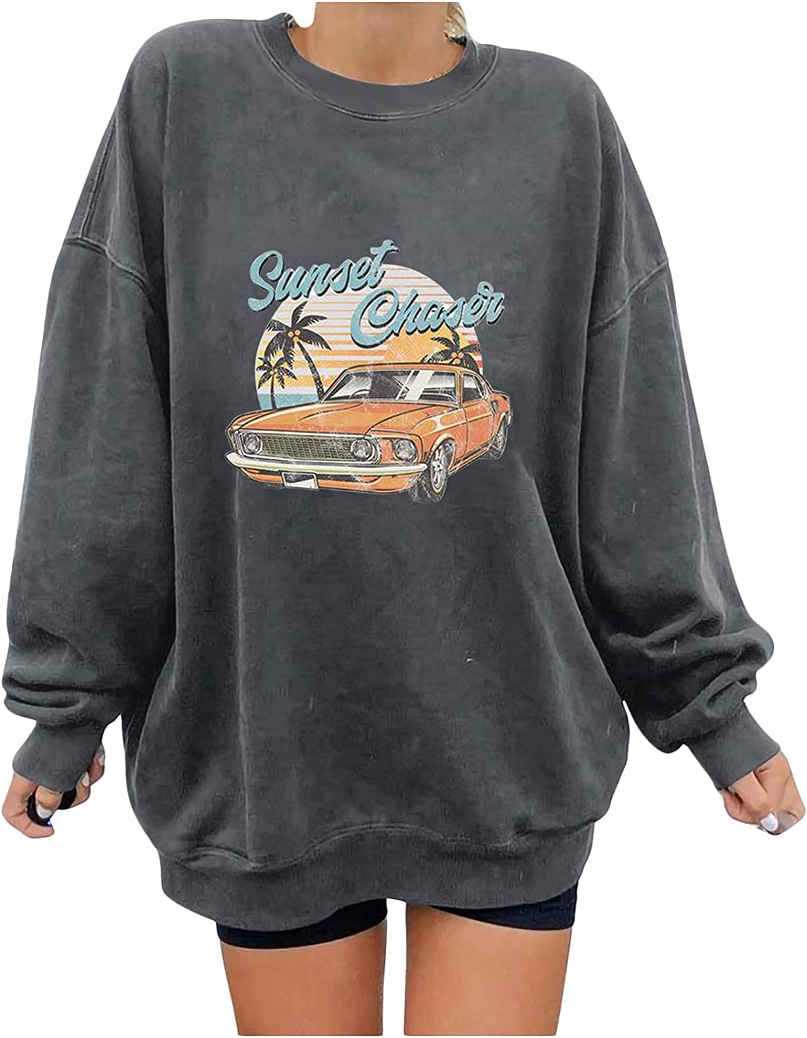 Women's Oversized Dressy All items in the store Tunic Blouse 5 ☆ popular Loose To Car Vintage Print