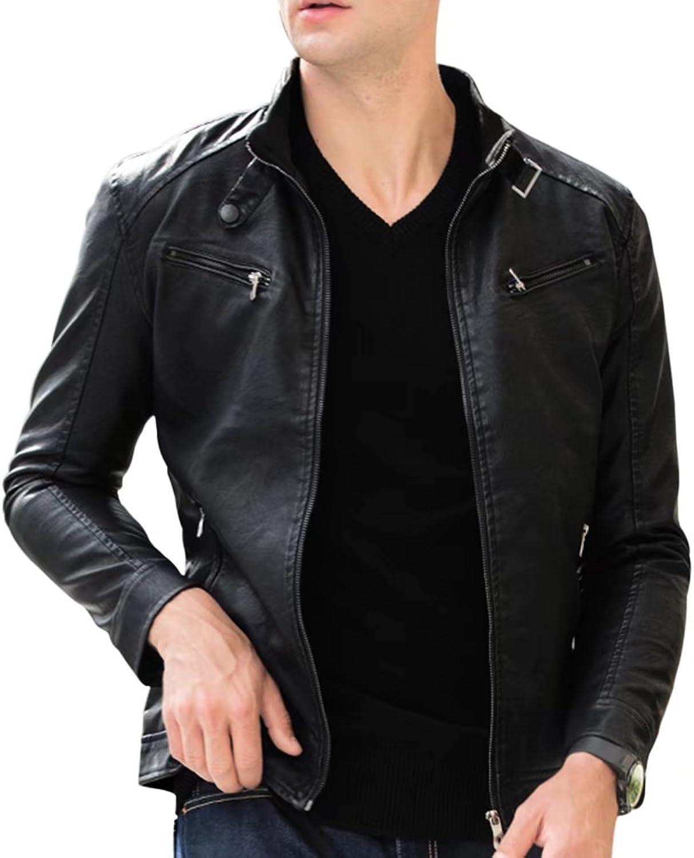 157ec518392 SITENG SITENG SITENG Mens PU leather Jackets Slim Smart Fit Fleece  harrington Jacket Coat f009a1