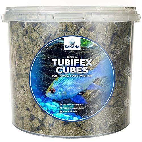 Sakana gefriergetrocknete Tubifex-Würfel, hochwertige Wasserfischfuttermischung, gesundes und nahrhaftes Futter für das Aquarium, hohe Proteine, große Vitaminquelle, leicht verdaulich